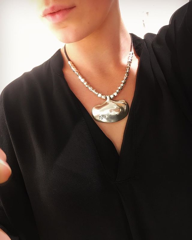 Lovely necklace from @bygcomplementos love it #new #in #store #necklace #silvernecklace #silver #with #leather #black #gothenburg #gbg #silverjewelry #jewelry #tintino #swedish #fashionstore